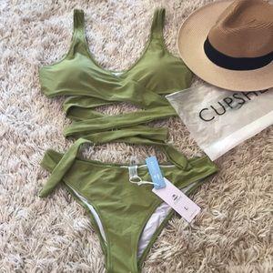 CUPSHE lime green bikini sz L